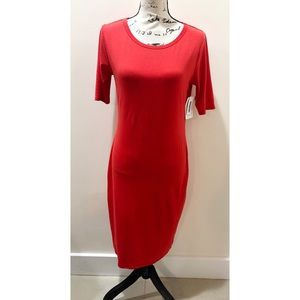 NWT LulaRoe Solid Red Julia Dress Size M